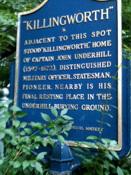 Plaque praising John Underhill in former Matinecock territory on Long Island
